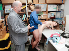 Shoplyfter - Cute Teen Caught And Fucked While Dad Watches